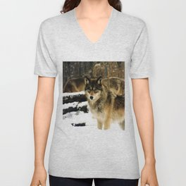 Wolves in The Snow Unisex V-Neck