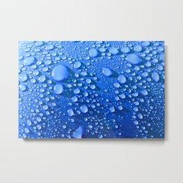 Raindrops on Blue Metal Print