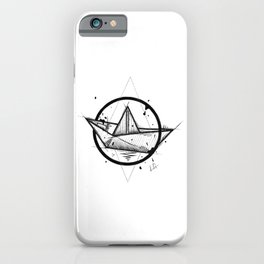 Paper Boat Handmade Drawing, Made in pencil and ink, Tattoo Sketch, Tattoo Flash, Blackwork iPhone Case