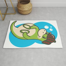 Cute Scottish Nessie with bonnet Rug