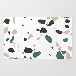 Terrazzo White Green Khaki Black Rug