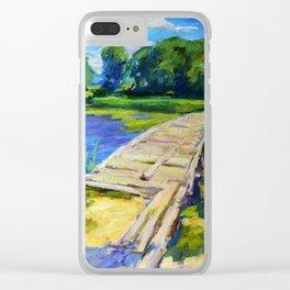 Wooden bridge Clear iPhone Case
