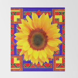 WESTERN BLUE-RED YELLOW SUNFLOWER FLORAL ART Throw Blanket