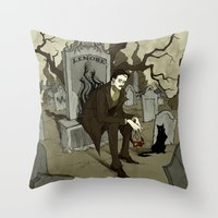 edgar allen poe Throw Pillows featuring Edgar Allan Poe by Abigail Larson