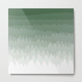 Green Ombré Forest Metal Print