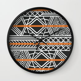 Tribal ethnic geometric pattern 022 Wall Clock