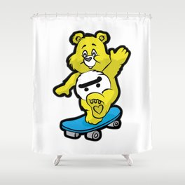 TEDDY BEAR SKATEBOARD Kickflip Ollie 360 Longboard Shower Curtain