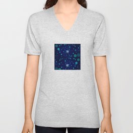 Blue Snowflakes Pattern Unisex V-Neck