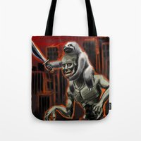 sloths Tote Bags featuring Planet Of The Sloths by Chris Moet