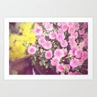 Vintage - Flower Pots Art Print