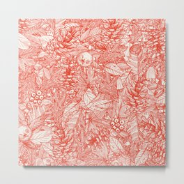 forest floor fire orange ivory Metal Print