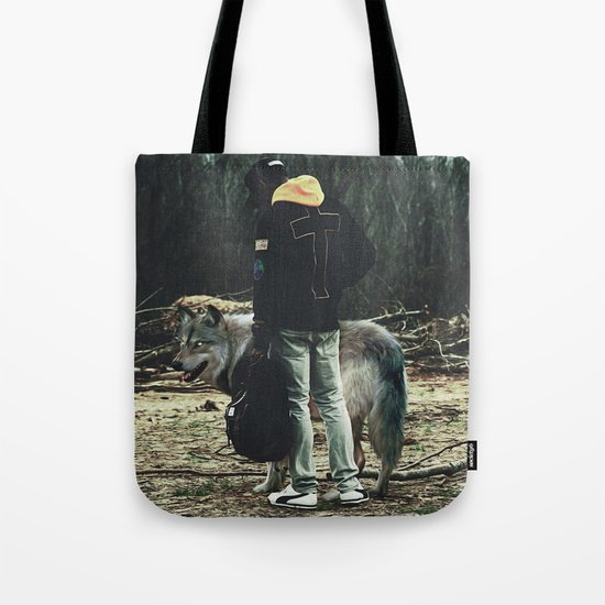 Kid with wolf Tote Bag