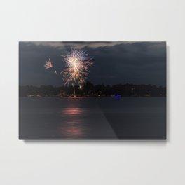 Fireworks Over Lake 9 Metal Print