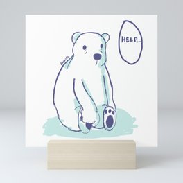 Sad Polar Bear Mini Art Print