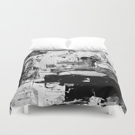 contemporary Palette Knife Abstract Plaid 8 - Black & White Duvet Cover