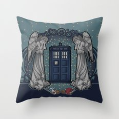 Art Nouveau Weeping Angels and the TARDIS Throw Pillow