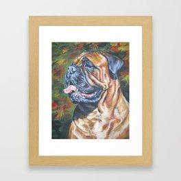 Bullmastiff dog art portrait from an original painting by L.A.Shepard Framed Art Print