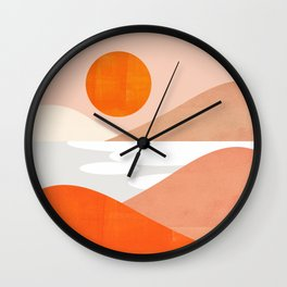 Abstraction_SUNSET_LAKE_Mountains_Minimalism_001 Wall Clock