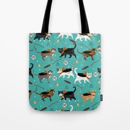Cat wizard cats magic school pattern Tote Bag