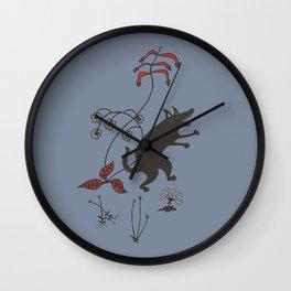 Black Dog Dancing in a Gorey Garden Wall Clock