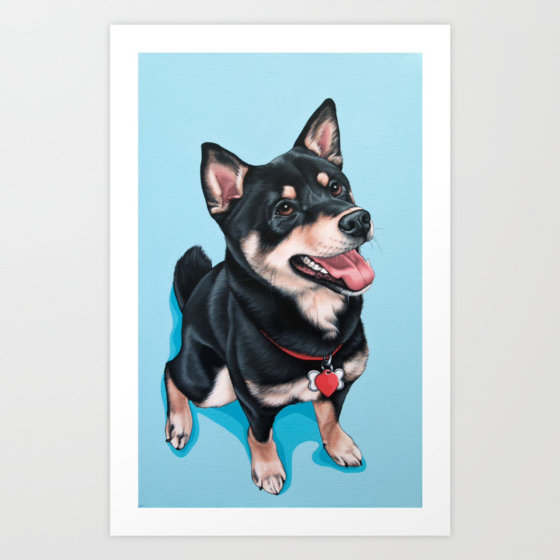 Happy Shiba Inu Puppy Painting Black Shiba Artwork Portrait Of A Happy Shiba Inu Art Print By Sydneyhardin Society6