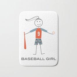 Funny Womens Baseball Girl Bath Mat
