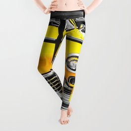 vintage yellow taxi car with black and white background Leggings