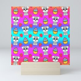 Cute happy funny baby Schnauzer puppy, sweet adorable yummy colorful Kawaii cupcakes and red summer strawberries cartoon bright rainbow blue and pink pattern design Mini Art Print