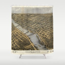 Aerial View of Grand Rapids, Michigan (1868) Shower Curtain