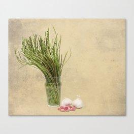 Wild Asparagus and Garlic  Canvas Print