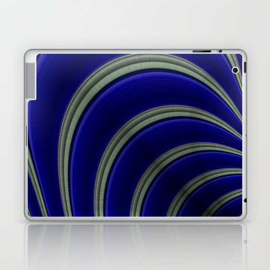 Blue And Silver Curves Laptop & iPad Skin