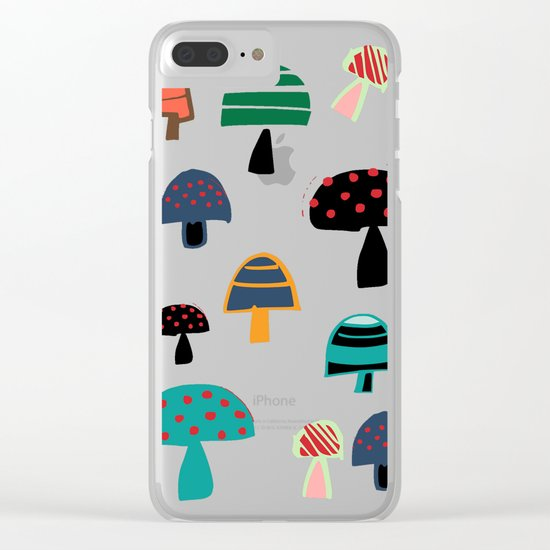 Cute Mushroom Blue Clear iPhone Case
