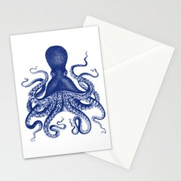 Octopus Print Navy Bluer by Zouzounio Art Stationery Cards