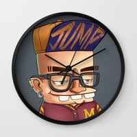 college Wall Clocks featuring College boy  by Emrah Tumer