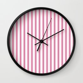 Bright Pink Peacock Mattress Ticking Wide Striped Pattern - Fall Fashion 2018 Wall Clock