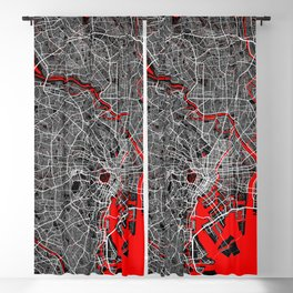 Tokyo City Map of Japan - Oriental Red Blackout Curtain