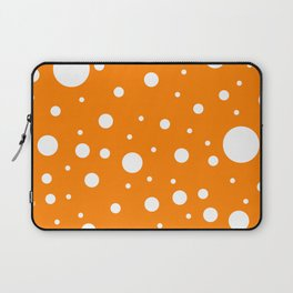 Mixed Polka Dots - White on Orange Laptop Sleeve