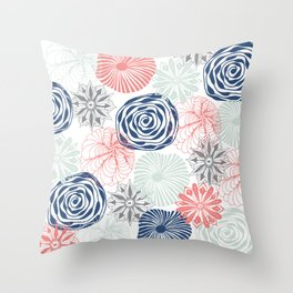 Floral Pattern in Coral Red, Navy Blue and Aqua Throw Pillow
