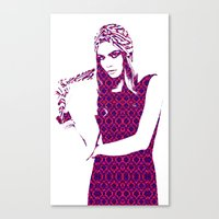 cara delevingne Canvas Prints featuring Cara Delevingne by fashionistheonlycure