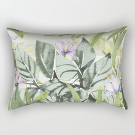 Tropical  lavender forest green watercolor floral Rectangular Pillow