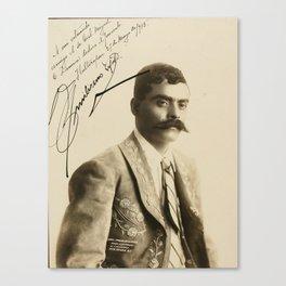 Emiliano Zapata with Signature, c.1915 Canvas Print