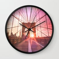 brooklyn bridge Wall Clocks featuring Brooklyn Bridge  by Vivienne Gucwa