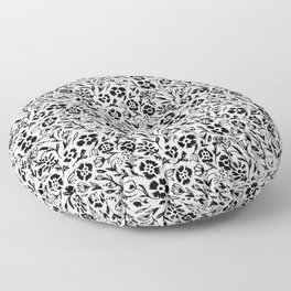 Black and White Floral Mini Print Floor Pillow