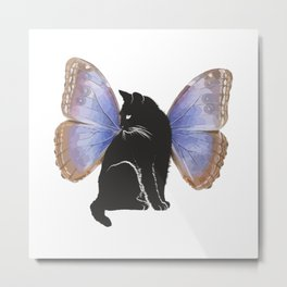 Black Cartoon Cat with Butterfly Wings Metal Print