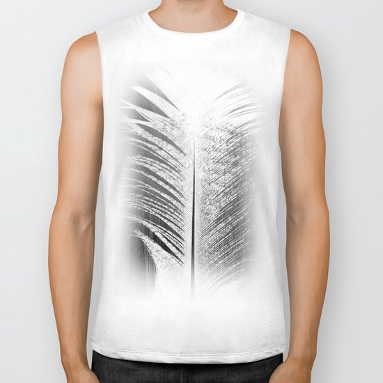 White and Grey Feather Biker Tank