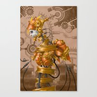 steam punk Canvas Prints featuring Steam Punk Iron Girl by cyberfrog