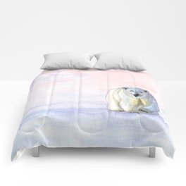 Polar bear in the icy dawn Comforters