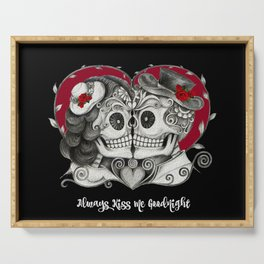 Roses Sugar Skull Couple, Always Kiss Me Goodnight Serving Tray