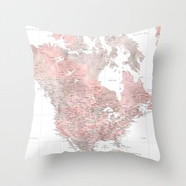 "Highly detailed world map in dusty pink and grey watercolor, ""Piper"" Throw Pillow"