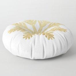 Gold Glitter Snowflake Floor Pillow